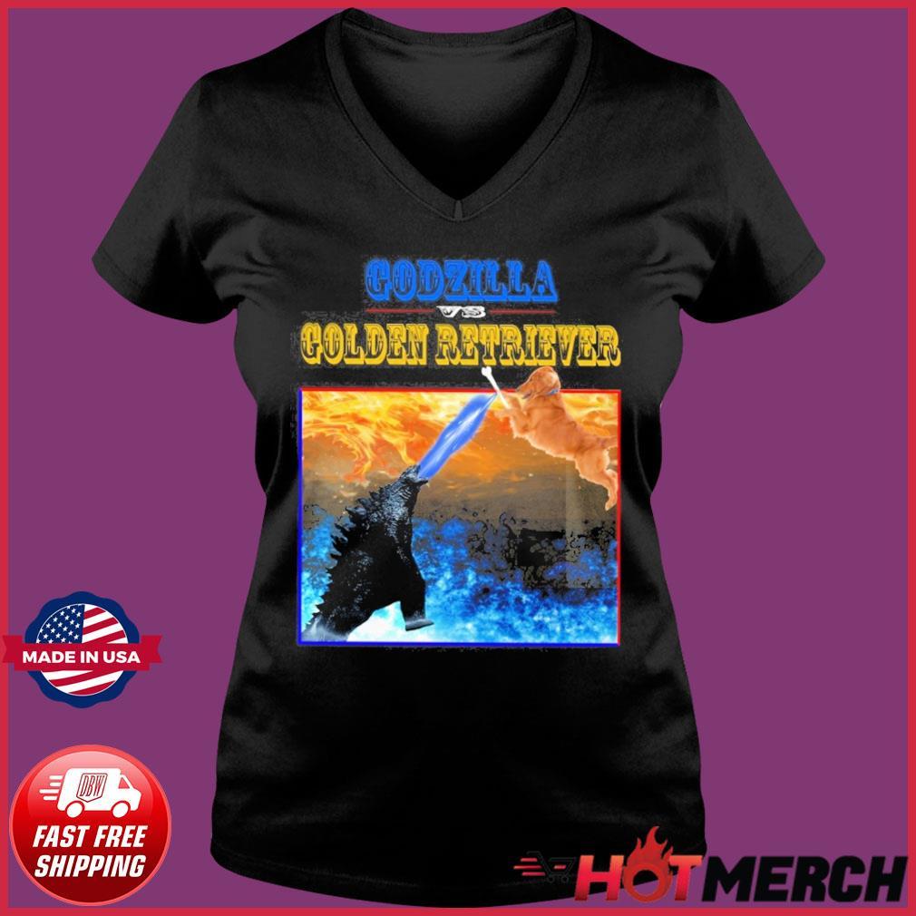 Godzilla Vs Golden Retriever With Godzilla Vs Kong Movie 2021 Shirt Ladies V-neck Tee