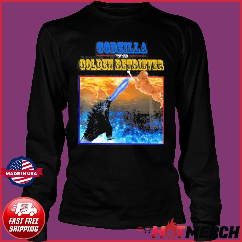 Godzilla Vs Golden Retriever With Godzilla Vs Kong Movie 2021 Shirt Long Sleeve