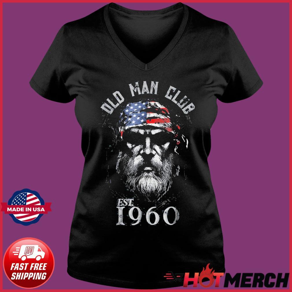 Mens Old Man Club Established 1960 Shirt Ladies V-neck Tee