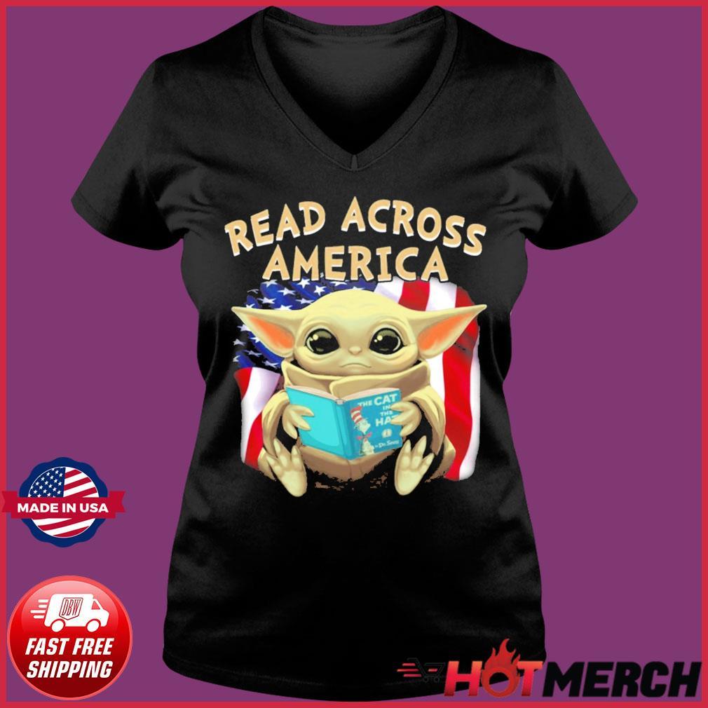 Official Star Wars Baby Yoda Read Across America Flag Shirt Ladies V-neck Tee