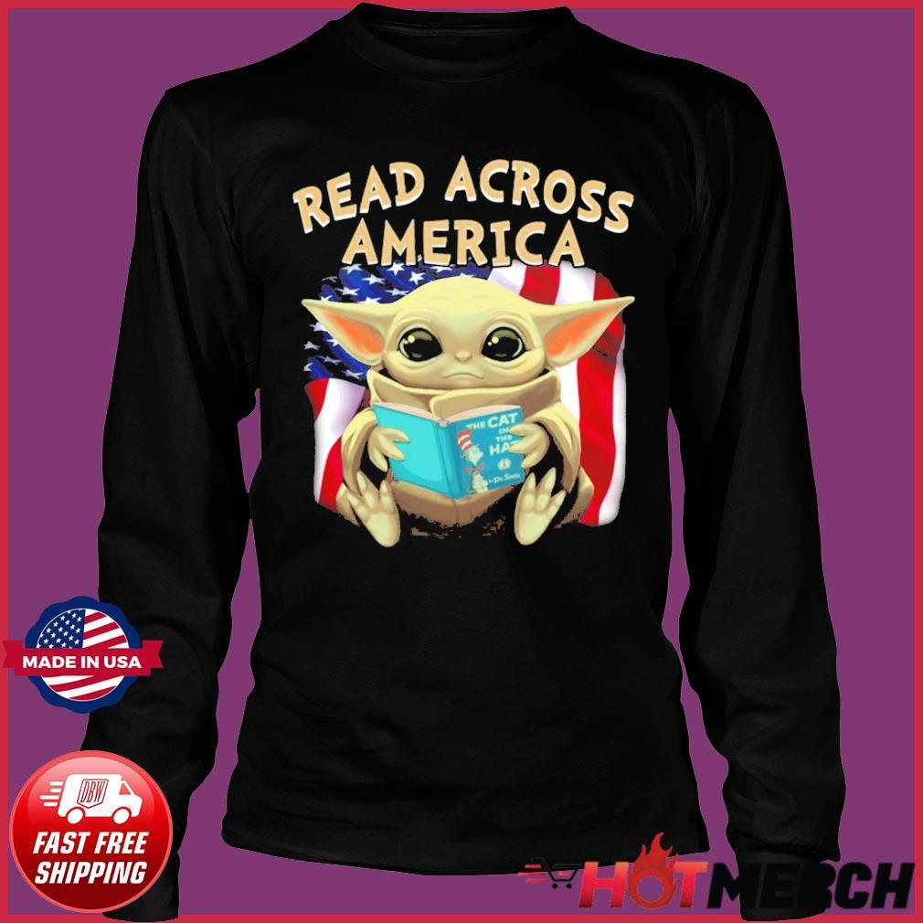 Official Star Wars Baby Yoda Read Across America Flag Shirt Long Sleeve