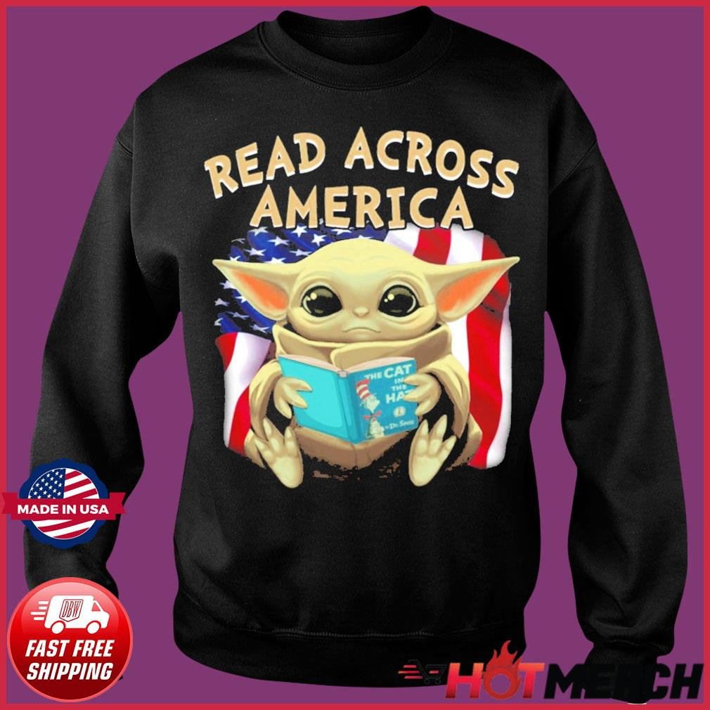 Official Star Wars Baby Yoda Read Across America Flag Shirt Sweater