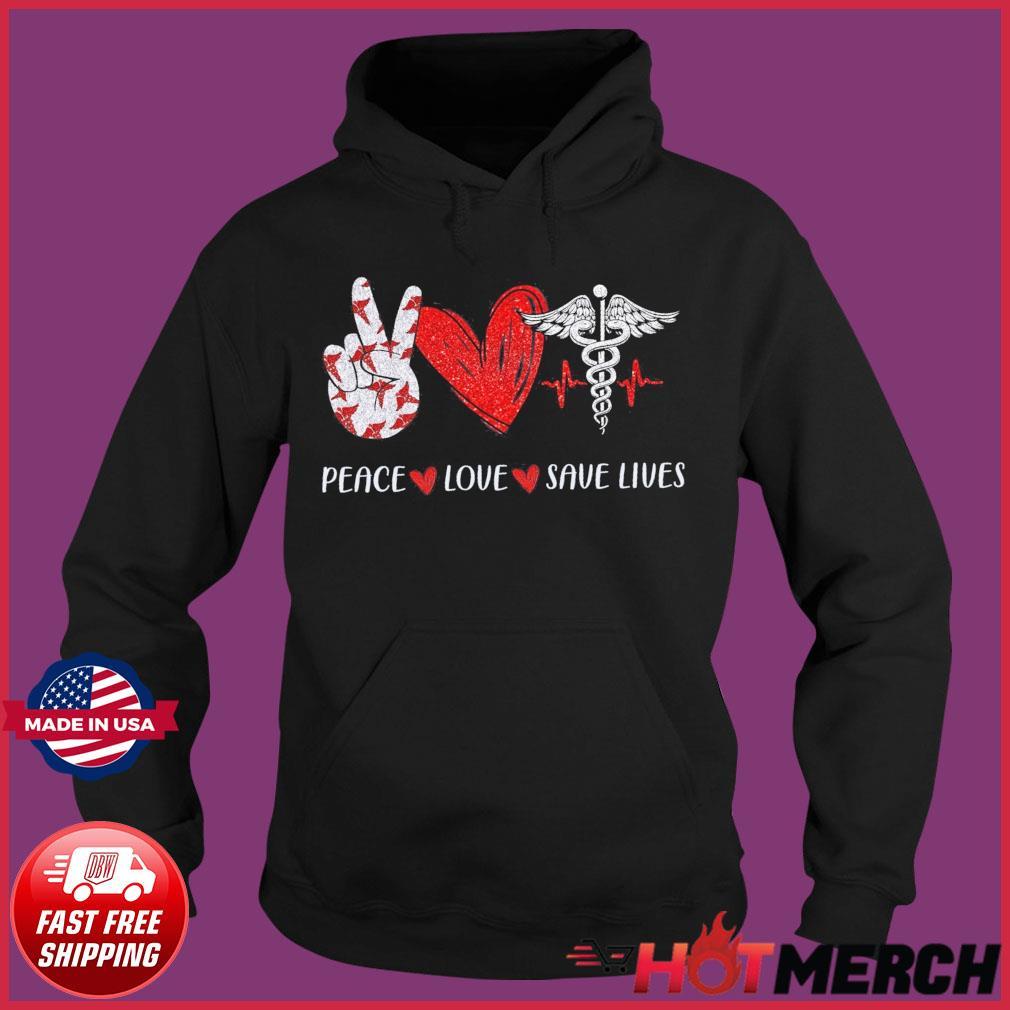Peace Love Save Lives Heartbeat Shirt Hoodie