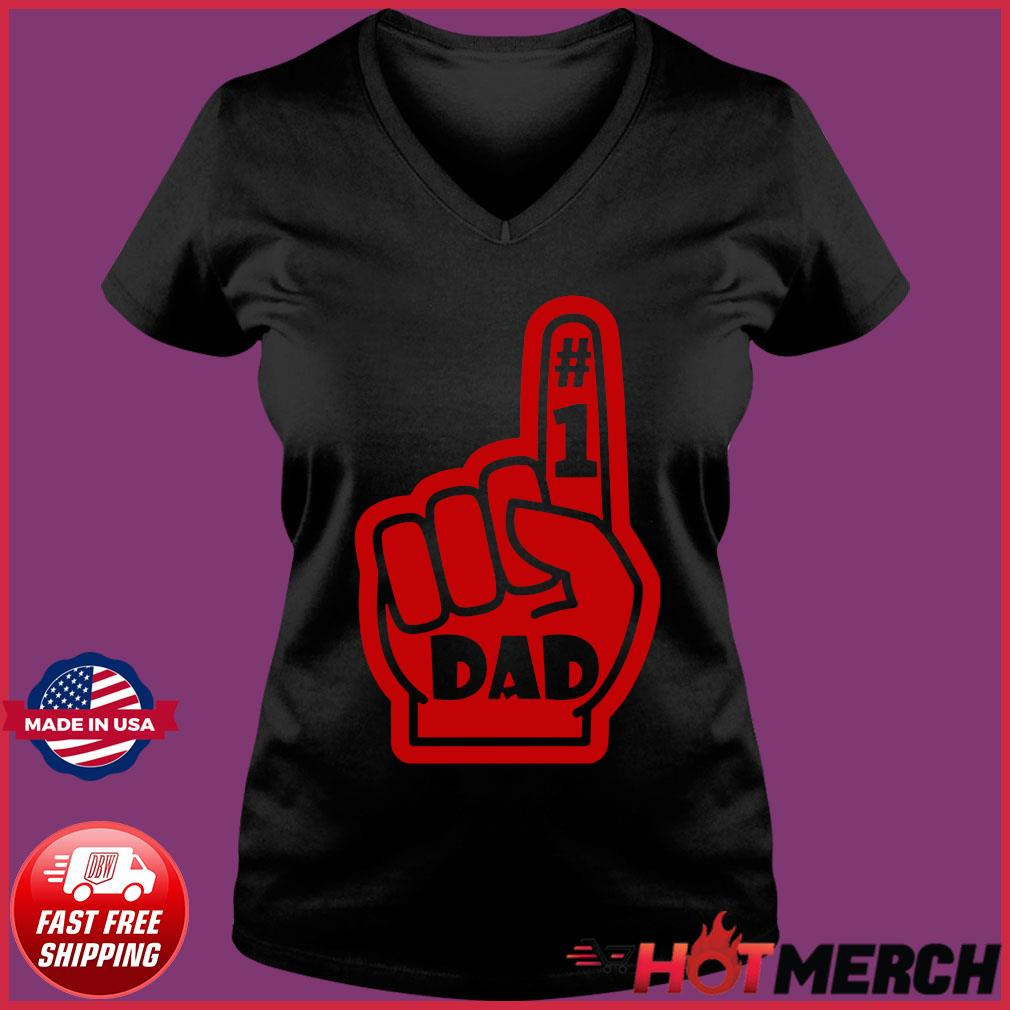 #1 Dad Number One Father's Day Shirt Ladies V-neck Tee