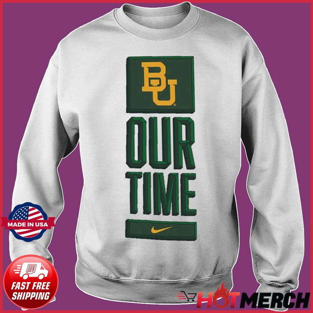 Nike BU Baylor Bears Basketball Our Time Bench Legend Performance Shirt Sweater