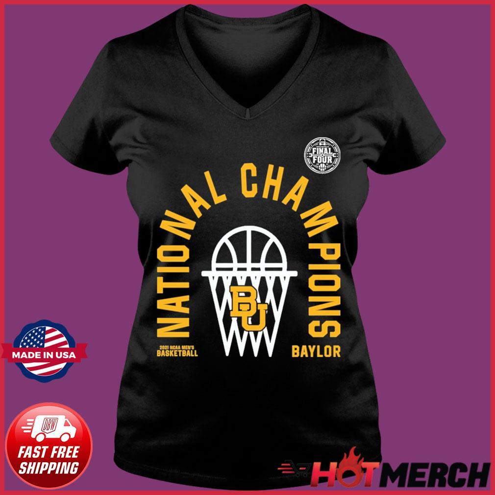 Official BU Baylor Bears 2021 NCAA Men's Basketball National Champions Arc Velocity Shirt Ladies V-neck Tee