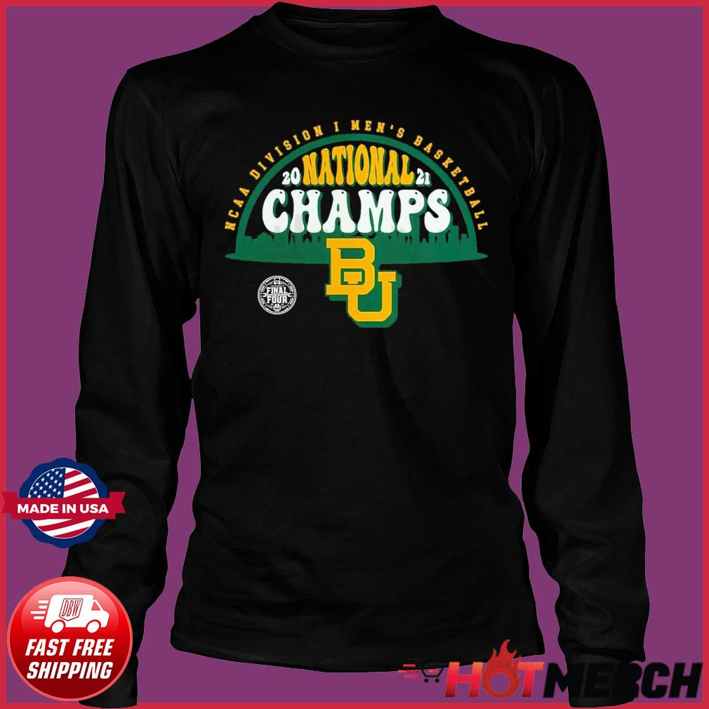 Official BU Baylor Bears1 2021 Basketball National Champions Screen Space Dye1 Shirt Long Sleeve