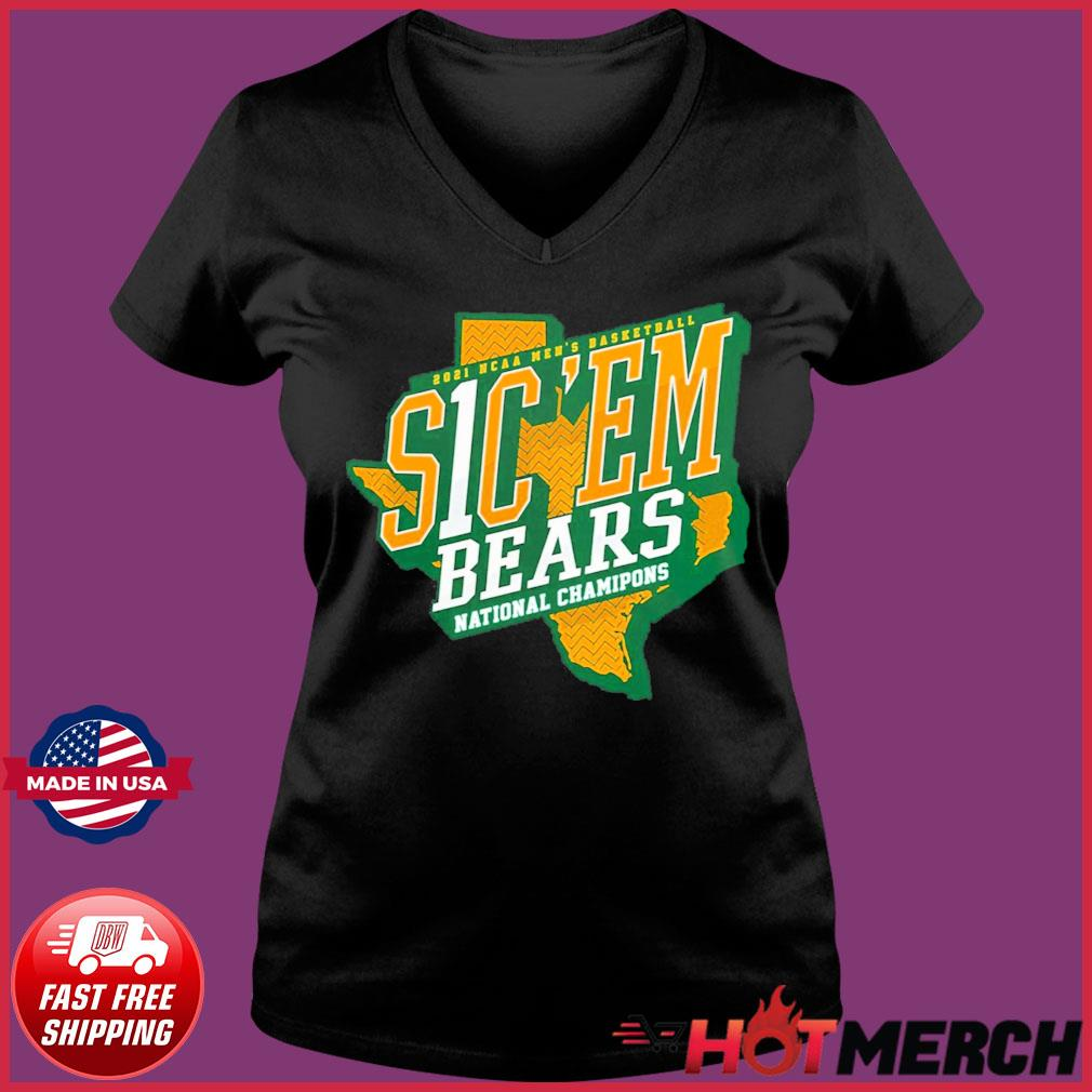 Official Texas Baylor Bears 2021 NCAA Men's Basketball S1C 'EM National Chamipons Shirt Ladies V-neck Tee