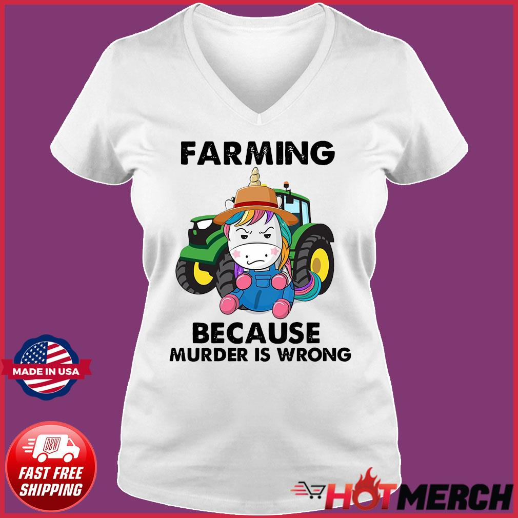 Official Unicorn Farming Because Murder Is Wrong 2021 Shirt Ladies V-neck Tee