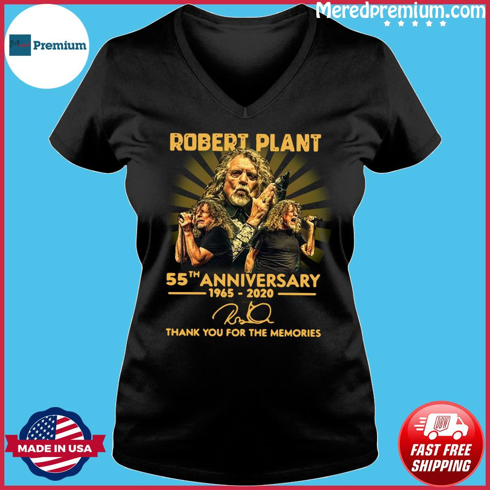 Robert Plant 55th Anniversary 1965 2020 Thank You For The Memories Signature Shirt Ladies V-neck