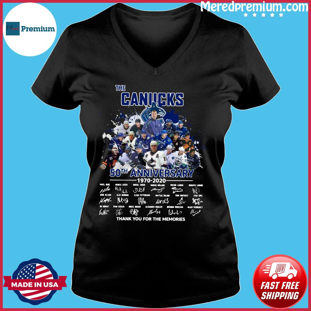 The Canucks 50th Anniversary 1970 2020 Thank You For The Memories Signatures Shirt Ladies V-neck