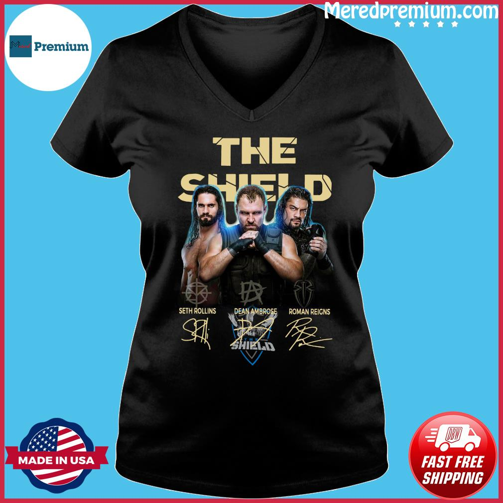 The Shield Seth Rollins Dean Ambrose Roman Reigns Signatures Shirt Ladies V-neck