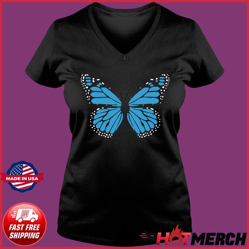 Blue Butterfly Fashion Emoji Icon Style Shirt Ladies V-neck Tee
