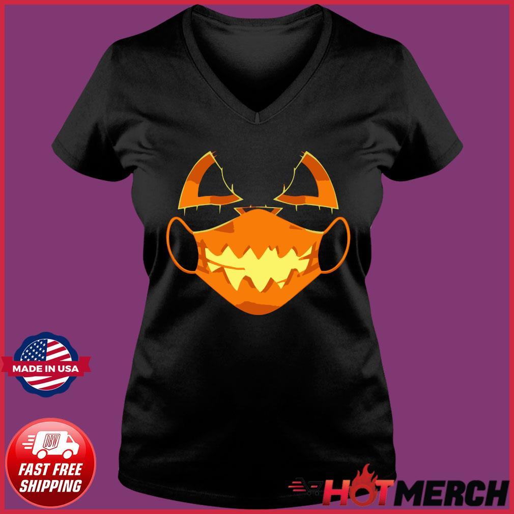 Covid-Halloween Mask Costume Scary Pumpkin T-Shirt Ladies V-neck Tee