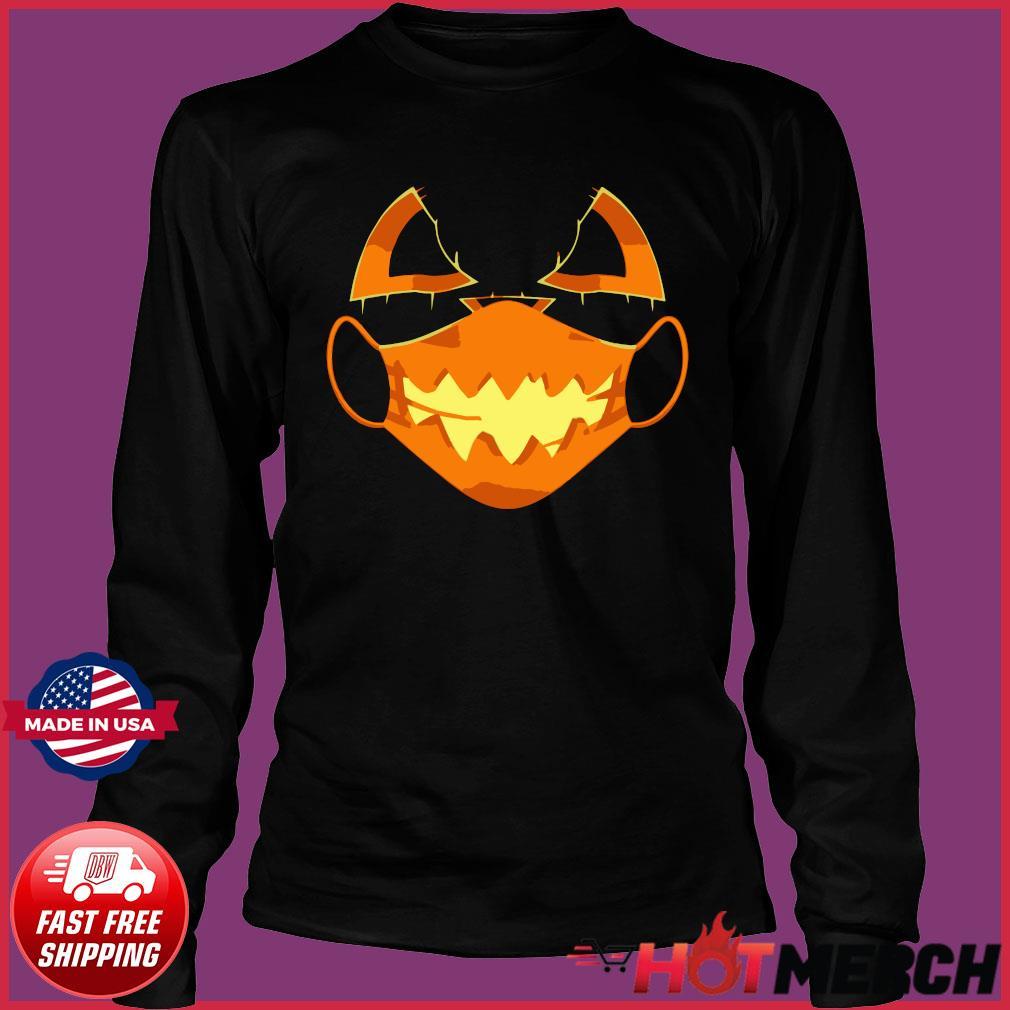 Covid-Halloween Mask Costume Scary Pumpkin T-Shirt Long Sleeve