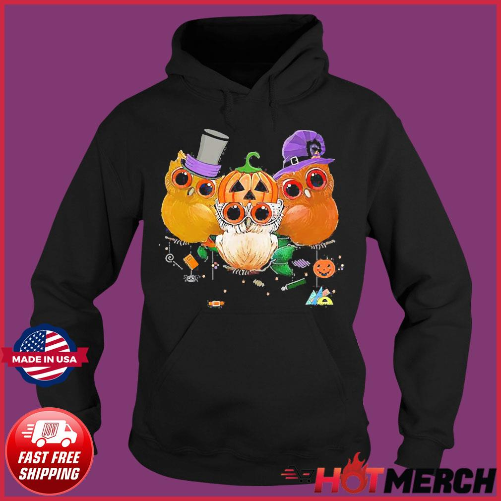 Three Owls Witch Hat Mummy Devil Cute Halloween s Hoodie