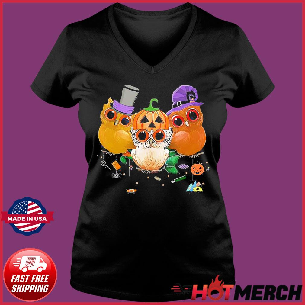 Three Owls Witch Hat Mummy Devil Cute Halloween s Ladies V-neck Tee