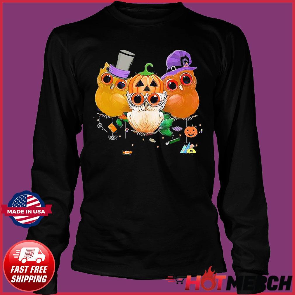 Three Owls Witch Hat Mummy Devil Cute Halloween s Long Sleeve
