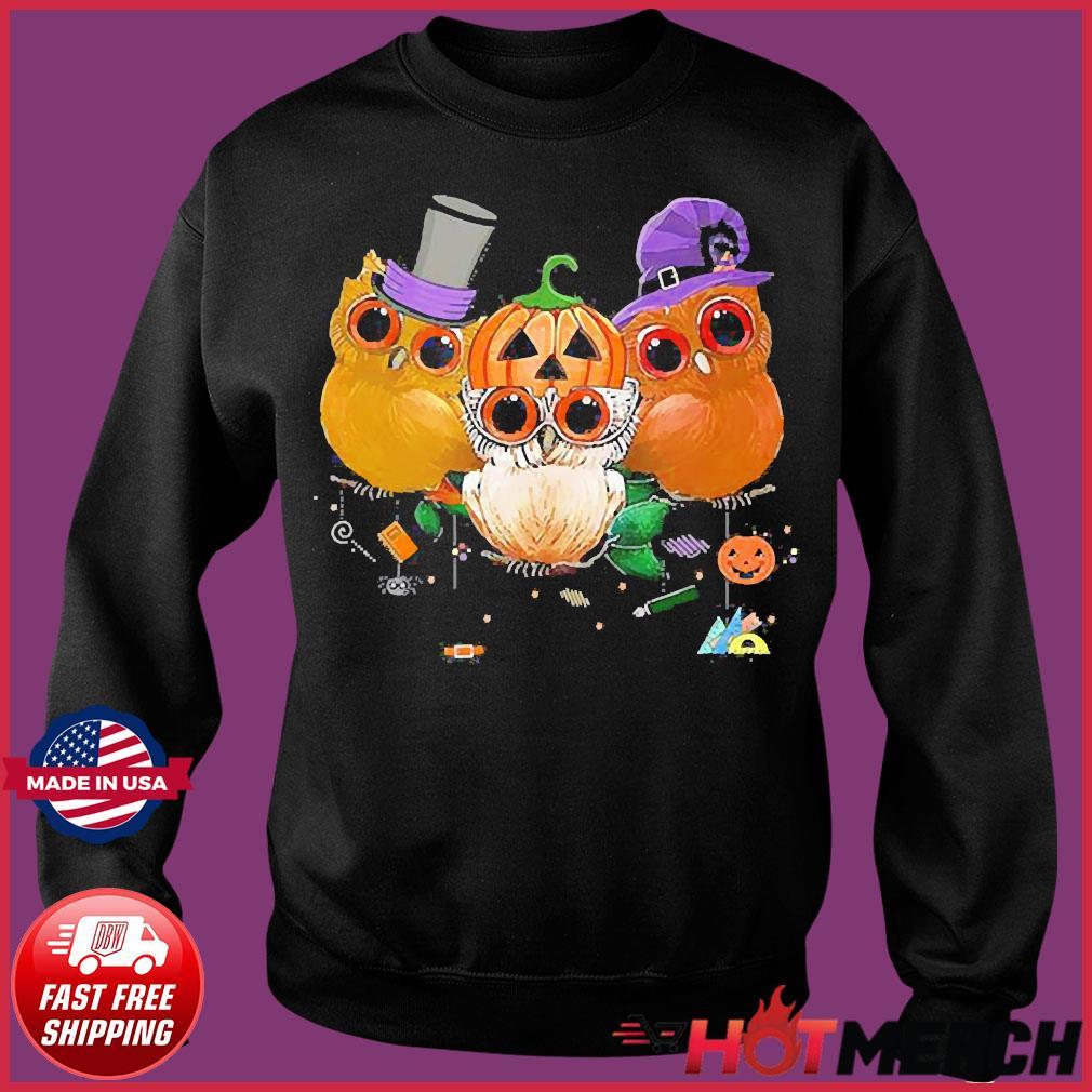 Three Owls Witch Hat Mummy Devil Cute Halloween s Sweater