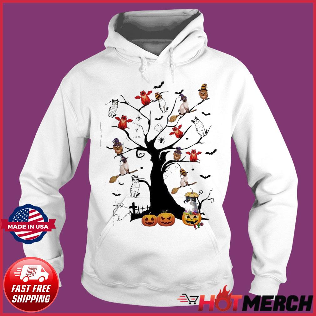 Witch Cat Dog and Owl in the Halloween tree s Hoodie