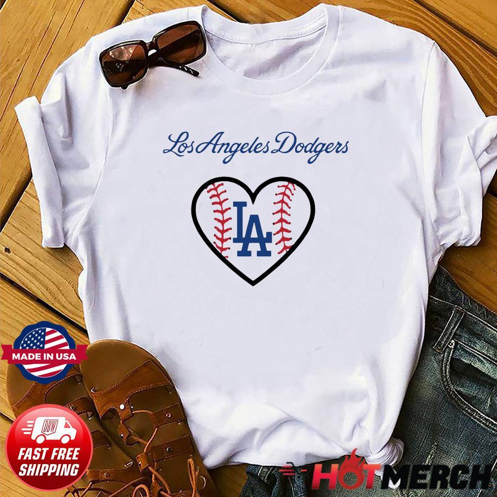 Los Angeles LA Dodgers Heart Logo Baseball Shirt