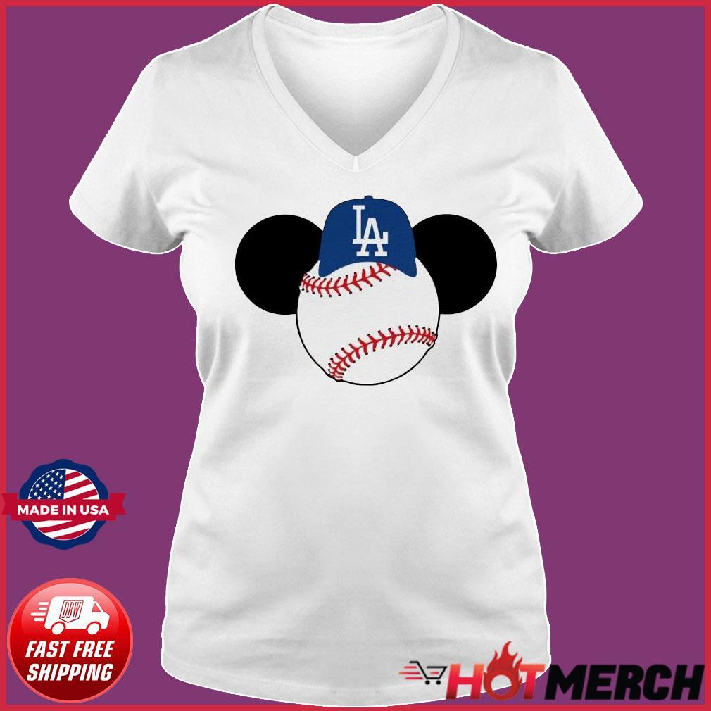 Mickey Mouse Los Angeles LA Dodgers Logo Baseball LA Disney Shirt Ladies V-neck Tee