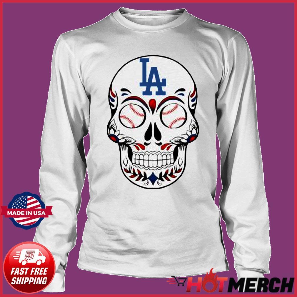 Skull Los Angeles LA Dodgers Logo Baseball Shirt Long sleeve