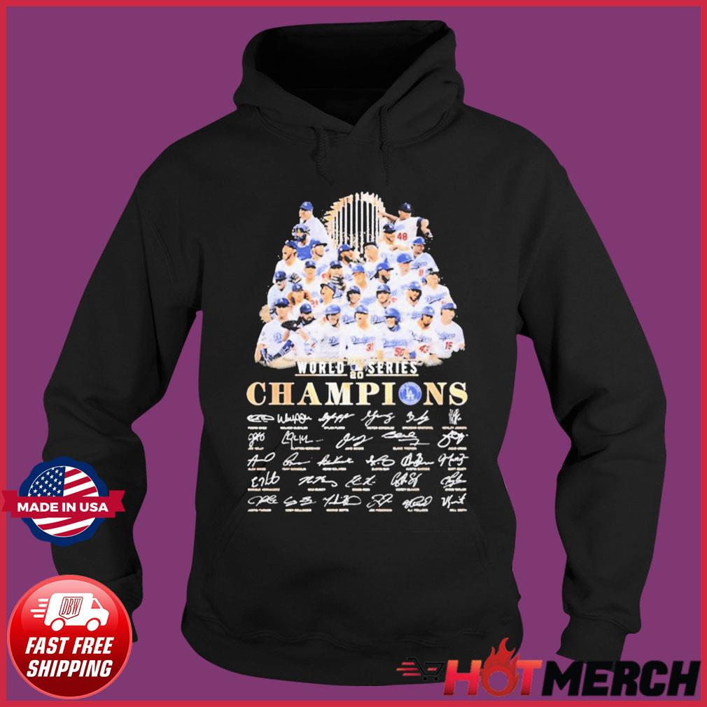 Team Los Angeles Dodgers player world 2020 series Champions signatures T-Shirt Hoodie