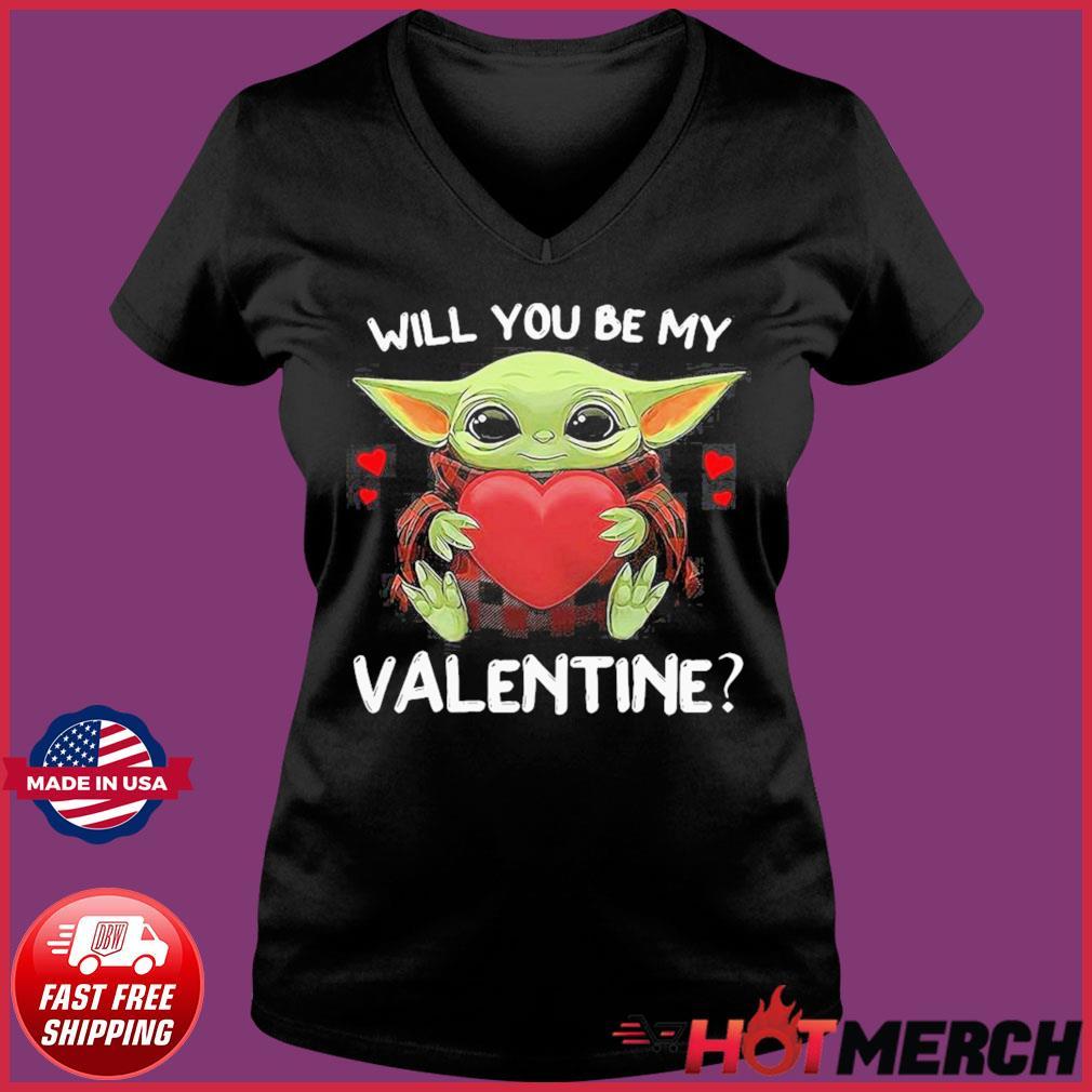 Baby Yoda Hug Heart Will You Be My Valentine Shirt Ladies V-neck Tee