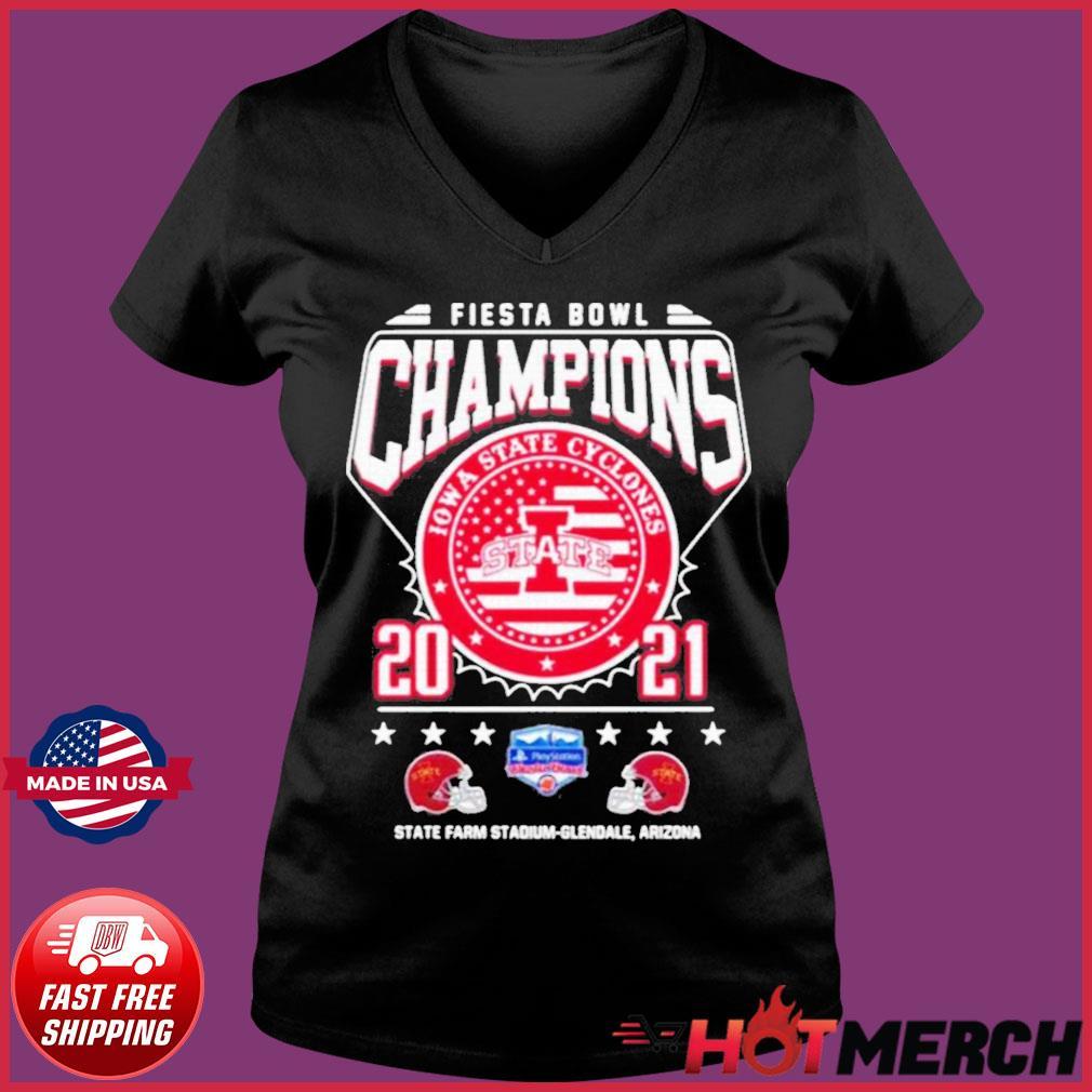 Fiesta Bowl Champions Iowa State Cyclones State 2021 State Farm Stadium Glendale Arizona Shirt Ladies V-neck Tee