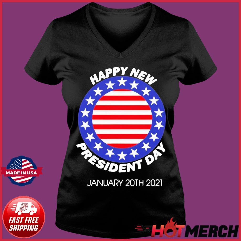 Happy New President Inauguration Day American Flag Shirt Ladies V-neck Tee